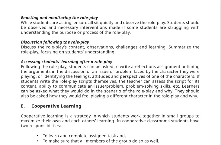 Instructional strategies require students to work in collective groups