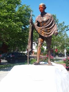 Statue of Gandhi outside Indian Embassy in Washington DC vandalised