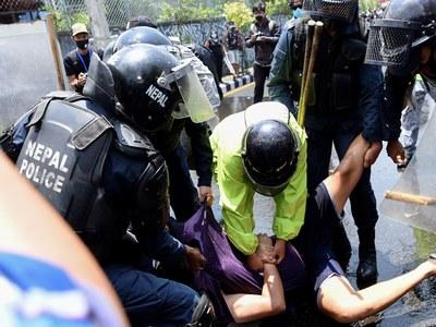 Nepali police clash with lockdown demonstrators