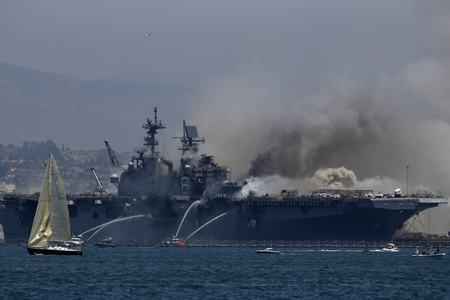 Major fire breaks out on US Navy ship in California