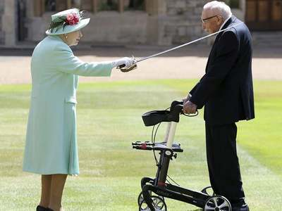 Queen knights 100-year-old veteran Captain Tom Moore for coronavirus fundraising