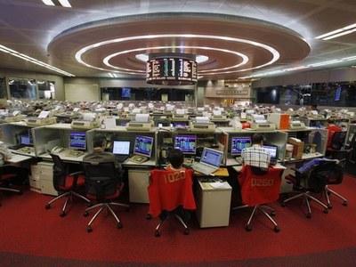 Hong Kong shares edge up, tech index shines