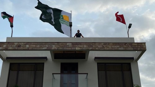 August 14 celebration: Shahid Afridi decorates his home with flags of Turkey, Palestine, Kashmir