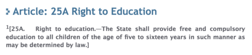 Article 25a of the Constitution of Pakistan clearly states that every child shall be provided free and mandatory primary and elementary education.