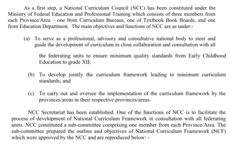 Excerpt of the criteria of forming the NCC from the Policy Framework. Source: Ministry of Federal Education and Professional Training