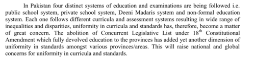 The ruling party celebrates the uniformity of the SNC in a trifurcated educational landscape. Source: Single National Curriculum Framework