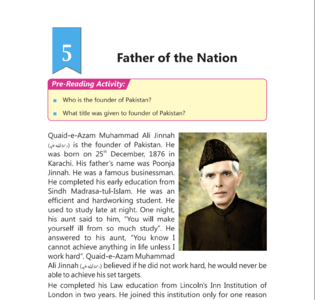 The fifth chapter of the Grave V English textbook in Punjab is on the Father of the Nation, Quaid-e-Azam Muhammad Ali Jinnah and his struggle on Pakistan