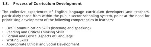 In addition to listening, speaking, reading and writing, the English curriculum emphasises ethnical and moral development of its students