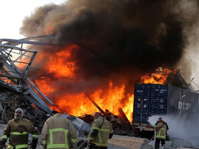 Large fire erupts in Beirut port area, a month after massive blast
