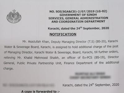 Sindh govt gives additional charge of MD KWSB to Asadullah Khan