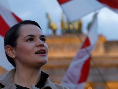 Belarus opposition leader joins Berlin protest ahead of Merkel meeting