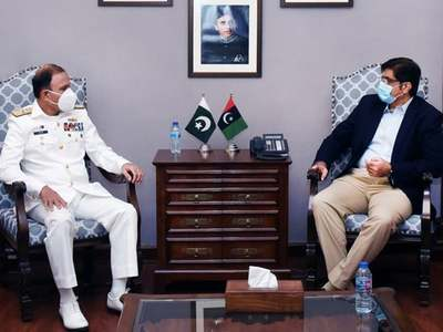 Naval Chief calls on CM Sindh after assuming the office