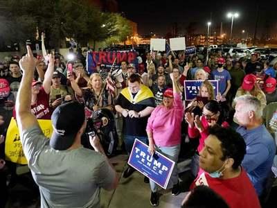 Trump supporters protest outside Arizona vote center