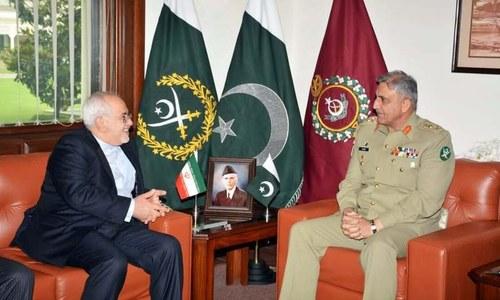 COAS Bajwa meets Iran's FM Zarif at GHQ
