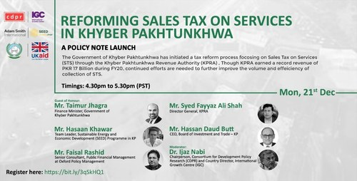 SEED partners with KP Government to Reform Sales Tax on Services in KP