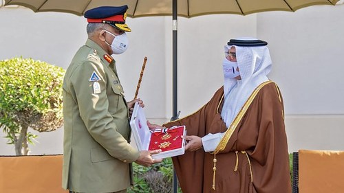 Bahrain crown prince presents COAS Bajwa top military award for contributions in bilateral defense cooperation