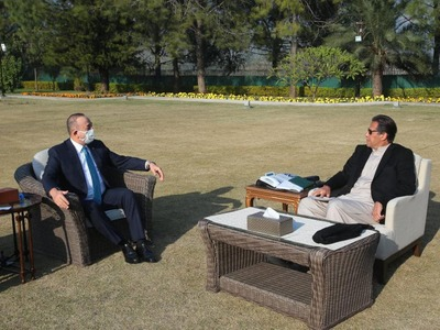 Turkish Foreign Minister Mevlut Cavusoglu meets PM Imran Khan