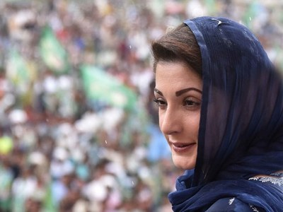 PARTLY FACETIOUS: Maryam too leads the protest