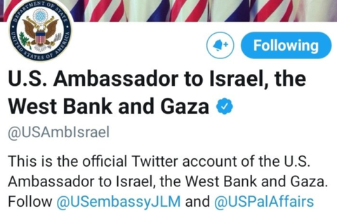 U.S Embassy briefly includes West Bank,Gaza in Twitter handle, sparking outrage