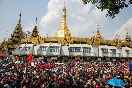 Hundreds join third day of anti-coup protests in Myanmar