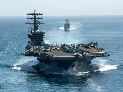 US navy says two carrier groups conduct joint operations in South China Sea