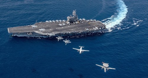 Two U.S. carrier groups conduct exercises in South China Sea