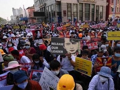 Myanmar protesters stage biggest rallies since troop deployments