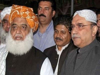Fazlur Rehman, Asif Zardari discuss Senate election, long march