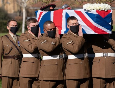Military honours and fly-past mark funeral of Britain's Captain Tom
