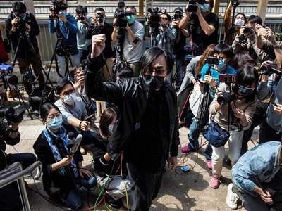 Crowds gather outside court after Hong Kong dissidents charged
