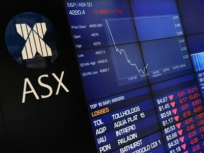 Australia shares fall in muted response to c.bank stance; weak commodities weigh