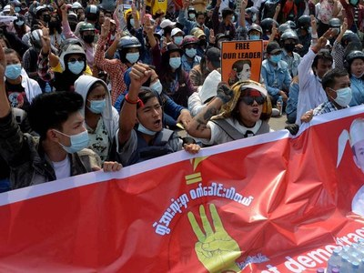 Three protesters killed as Myanmar workers go on strike