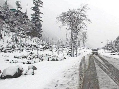 Upper parts of Hazara receive snowfall, heavy rain