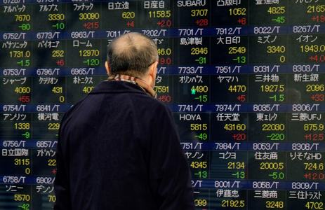 Asian shares slip, dollar wallows at 1 month lows