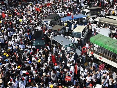 Thousands rally against Myanmar junta