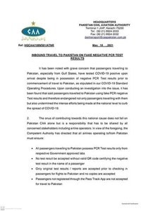 CAA expresses 'grave concern' over fake PCR test results