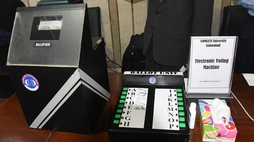 Govt unveils preliminary model of electronic voting machine at Parliament House