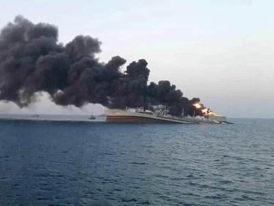Iran navy vessel sinks after fire in Gulf of Oman