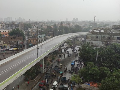 Heavy downpour with strong winds hit Karachi