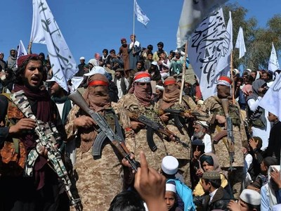 Taliban hold victory rally; five killed in blast