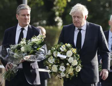 UK PM Johnson visits church where lawmaker was stabbed to death