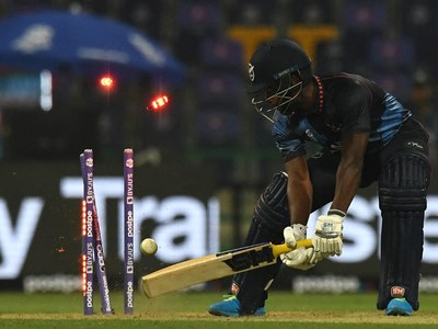 Theekshana, Hasaranga spin out Namibia for 96 in T20 World Cup