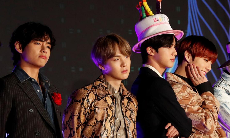 V, Suga, Jin and Jungkook, members of South Korean boy band BTS pose on the red carpet during the annual MAMA Awards at Nagoya Dome in Nagoya, Japan, December 4, 2019.