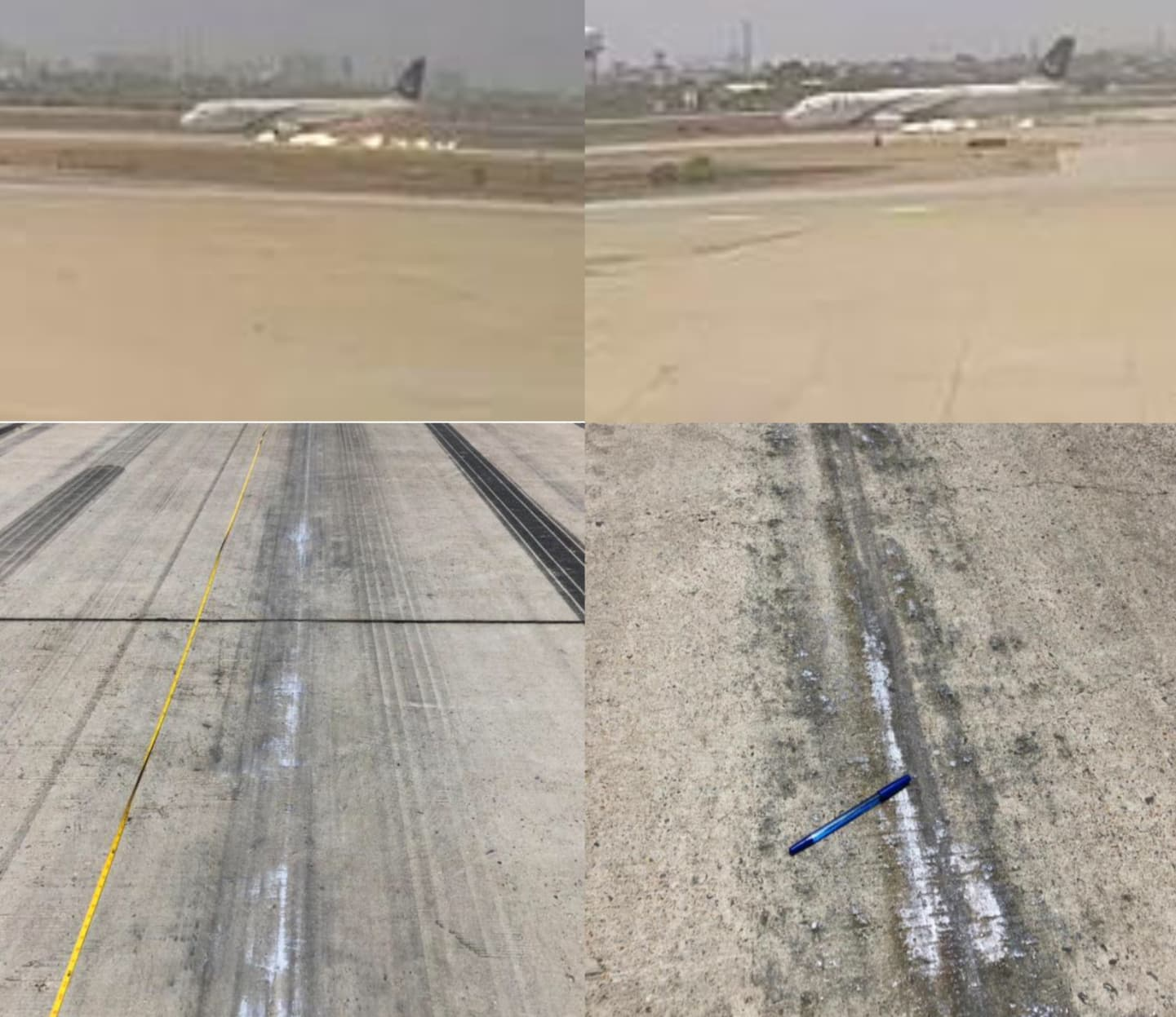 Screenshots of CCTV cameras footages, and marks on runway