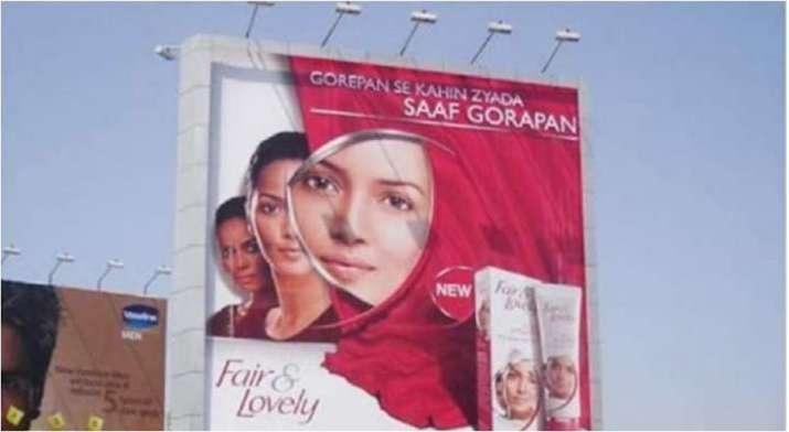 A Fair & Lovely billboard advertises skin fairness