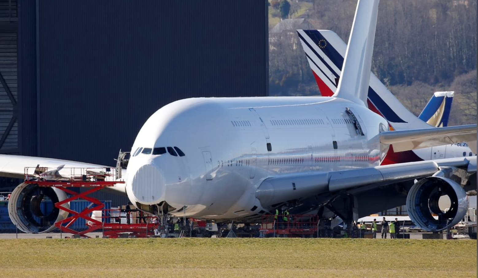 An A380 Airbus superjumbo sits on the tarmac where it is dismantled at the site of French recycling and storage aerospace company Tarmac Aerosave in Tarbes, southwest France, February 14, 2019. REUTERS/Regis Duvignau
