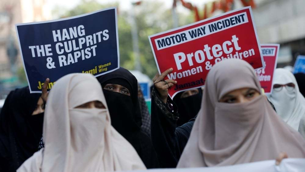 Jamaat-e-Islami's women's wing held a rally in Karachi earlier this month to protest against the Motorway incident. (Photo by Reuters)