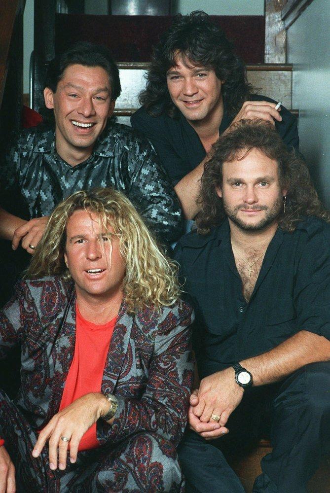 Rock group Van Halen, clockwise from left: Alex Van Halen, Eddie Van Halen, Michael Anthony and Sammy Hagar appear in a 1988 photo.