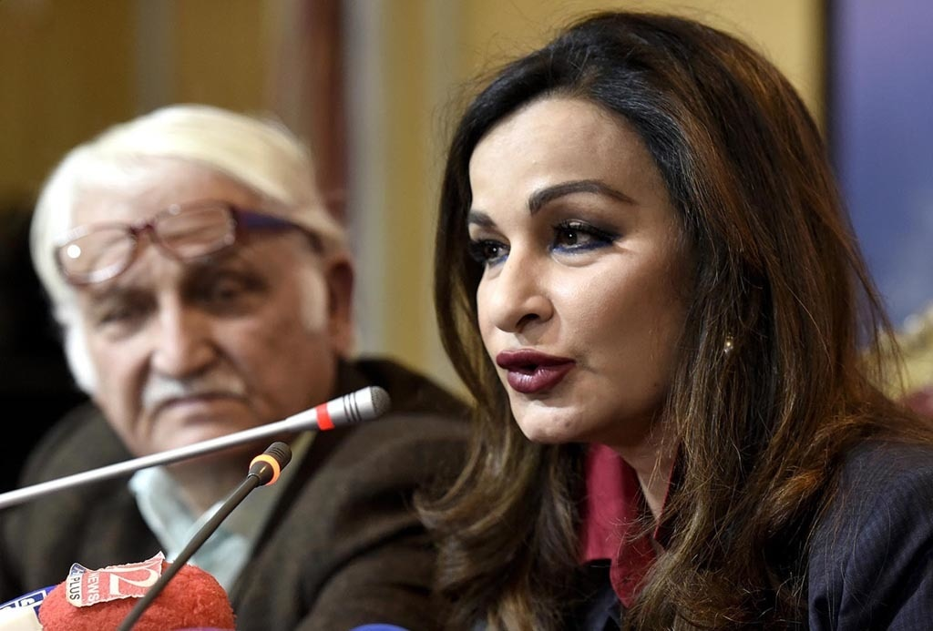 ISLAMABAD: Senior leader of PPP Senator Sherry Rehman speaks during a press conference at NPC. INP PHOTO by Shahid Raju