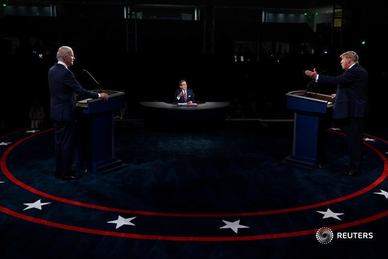 President Trump and his main competitor former Vice President Joe Biden engage in a raucous first debate.   Source: Reuters